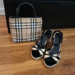 Burberry Nova Check Mini Bag & Espadrilles EUC